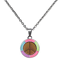 Color Change Necklace Luminous Peace Sign Pendant Women Thermo Mood Jewelry