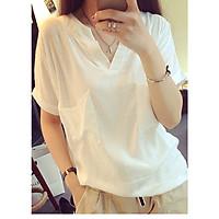 Áo kiểu nữ form rộng 2 túi ngực ArcticHunter, chất vải lanh thô mềm mát, thích hợp mùa hè, thời trang phong cách trẻ