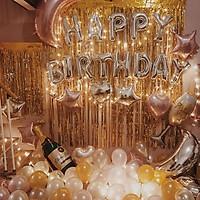 Set bóng trang trí sinh nhật Happy birthday tặng kèm bóng nhũ, bóng tim sao, hình ly, chai và rèm kim tuyến