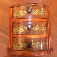 Tủ gỗ mini để bàn, trang trí bàn trang điểm (bầu dục)