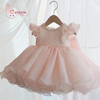 Đầm bé gái voan hồng cho bé từ 1 đến 12 tuổi
