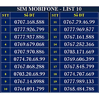 SIM SỐ ĐẸP MOBIFONE - LIST 10 (MBFDS10) - Số dễ nhớ, thần tài, lộc phát, số cặp - Chọn Số Theo Danh Sách - SIM MỚI, ĐĂNG KÝ ĐÚNG CHỦ ONLINE - Hàng Chính Hãng