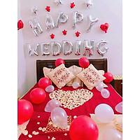set bóng trang trí phòng cưới, phòng tân hôn tặng kèm phụ kiện bơm, băng dính, dây buộc bóng