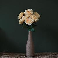 Lọ Hoa Giả - Hoa Hồng Cánh Xoăn & Lọ Thủy tinh Pure cao- Hoa Giả Cao Cấp- Hoa giả Vintage
