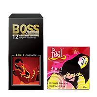 Combo Bao Cao Su Boss 4in1 12s và bao cao su Feel 3s Siêu gai li ti kéo dài thời gian
