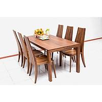 Bộ bàn ăn 6 ghế Nội Thất Nhà Bên mẫu NAN 11 sang trọng 180 x 85 x 75cm (Nâu)