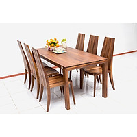 Bộ bàn ăn 6 ghế Nội Thất Nhà Bên NAN 11 180 x 85 x 75cm (Nâu)
