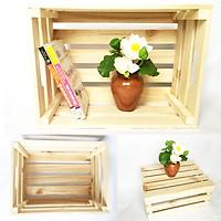 Thùng gỗ Pallet size lớn L-XL [D50-60xR40-50xC20-22cm] đựng đồ trang trí homestay- Kệ decor đa năng
