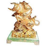tượng trâu vàng đế thủy tinh kích thước 16cm * 12 cm