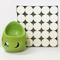 Combo Đèn Đốt Tinh Dầu Hình Trứng Kèm 100 Viên Nến Duy Trì 4 - 5 Hours