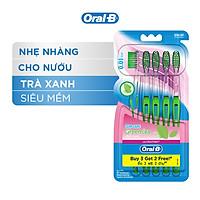 Bàn Chải OralB Tinh Chất Trà Xanh Vỉ 5 cây (Mua 3 tặng 2)