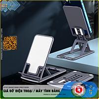 Giá đỡ điện thoại, máy tính bảng để bàn gấp gọn HT SYS BRACKET PHONE and TABLET FOLDED  - Hợp kim nhôm cao cấp - Có thể điều chỉnh 7 góc độ, phù hợp với tất cả các dòng điện thoại và máy tính bảng - Hàng Nhập Khẩu
