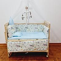 Giường cũi cho bé đa năng trọn bộ. Cũi gỗ kèm màn, đệm, quây, gối. treo nôi phát nhạc, kích thước 105*60*90 (D*R*C)