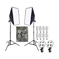 2 Softbox đuôi sứ 4 chuôi 50x70cm - 8 đèn Led 360 độ 480W - 2 chân đèn 2m