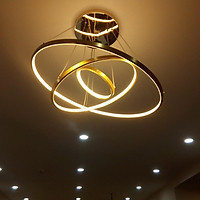 Đèn thả phòng khách 3 vòng viền vàng sang trọng - 3 chế độ ánh sáng có điều khiển từ xa LINSKY
