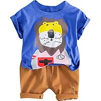 Cotton Children Sets Infant Kids Boys Clothes Children Clothing Sets Summer Baby Lion Printed Casual Tops T-Shirt+Pants Set