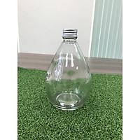 1 bình đựng nước thủy tinh hình giọt nước có nắp nhôm chắc chắn, chai nước kiểu dáng siêu độc lạ 500ml thiết kế nhỏ gọn dùng trang trí bàn làm việc, đựng nước và đa chức năng khác
