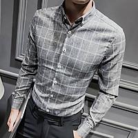 Sơ mi đũi nam kẻ caro cao cấp cổ bẻ thời trang Hàn Quốc dáng slimfit trẻ trung
