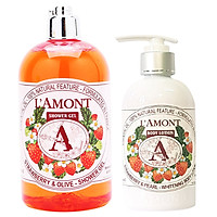 Combo Sữa Tắm L'amont En Provence Strawberry (500ml) và Sữa Dưỡng Thể L'amont En Provence Strawberry Whitening Body Lotion (250ml)