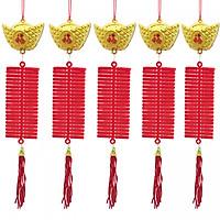 Set 5 dây đĩnh vàng pháo nhung dài 30cm trang trí Tết