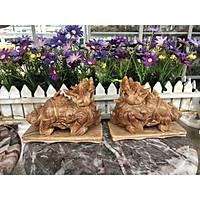 Cặp Tỳ Hưu phong thủy đá cẩm thạch vân gỗ có đế - Dài 15 cm