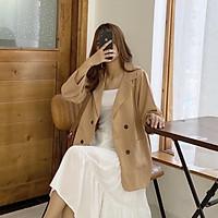 áo khoác vest balzer nữ phom rộng 2 túi dán phong cách hàn quốc