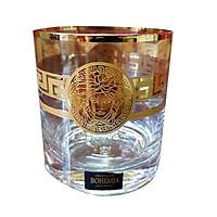 Bộ 6 Ly Uống Nước Pha Lê Mạ Vàng - 300ml Họa Tiết Versace