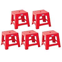 Combo 5 Ghế Lùn Lớn Duy Tân Tiện dụng (28 x 28 x 25 cm) No.H069 - Màu ngẫu nhiên, dùng kết hợp bàn nhựa ăn cơm gia đình, quán ăn