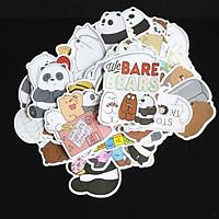 Bộ 20 Sticker Hình Dán chủ đề We Bare Bear  Cute Chống Nước Decal Chất Lượng Cao Trang Trí Va Li Du Lịch Xe Đạp Xe Máy Guitar Ukulele Laptop Nón Bảo Hiểm