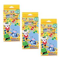 Bộ 3 hộp sáp dầu 18 màu dành cho bé mới tập vẽ - Hàng nội địa Nhật