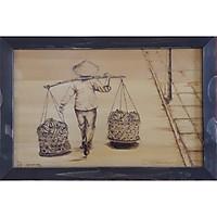 Tranh chạm bút lửa trên gỗ: Tình Mẹ