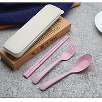 Bộ dụng cụ muỗng đũa nĩa ăn cơm kèm hộp đựng, chất liệu nhựa lúa mạch an toàn cho sức khỏe ,thích hợp văn phòng, học sinh, sinh viên hay khi đi du lịch, picnic..., giao màu ngẫu nhiên+ Tặng kèm hình dán ngộ nghĩnh