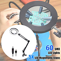 5X Magnifying Glass Desk Lamp 60 SMD LED Light Reading Lamp Magnifier With Clamp