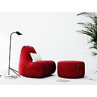 BỘ GHẾ LƯỜI PARAISO (Paraiso indoor beanbag chair) GỒM GÁC CHÂN TRỤ TRÒN CHẤT LIỆU VẢI NHẬP KHẨU MÀU ĐỎ - TARUJO