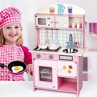 Đồ chơi bếp bằng gỗ màu hồng cao 90cm