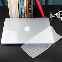 Combo ốp kèm phủ phím màu Trong cho các dòng Macbook (ốp có hở logo Táo)