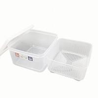Hộp nhựa bảo quản thực phẩm 2 lớp hình vuông, nắp mềm 1,1L - Nội địa Nhật Bản