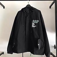 Áo khoác gió, áo khoác dù nam nữ 2 lớp in RAP trang nam 2020