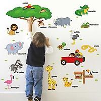 Decal dán tường từ tiếng anh về loài vật cho bé SK9084