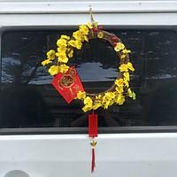 Vòng hoa mai hoa đào trang trí tết H01 MÀU VÀNG TƯƠI