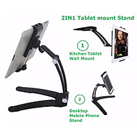 2-in-1 Kitchen Tablet Stand Wall Mount / under Cabinet Holder- Perfect for Recipe Reading on Countertop or Using on Office Desktop- Fit for iPad Phone