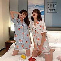 Bộ Đồ Ngủ Mặc Nhà Lụa Satin Cao Cấp Pijama Chất Mát Hoạ Tiết Trái Cây 4 Màu Mùa Hè CC010