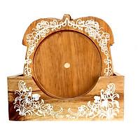 Bộ lót ly hình quả táo bằng gỗ tự nhiên, hàng thủ công cao cấp và khắc Hoa văn đẹp sang trọng