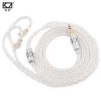 KZ OFC Earphones Cable 8 Core High Purity Silver Plated Upgrade Cable Standard 3.5mm Plug Pin 0.75mm Headset Replace Cable KZ Earphone Replacement Wire For ZSN ZS10PRO ZAX ASX DQ6 Headphones