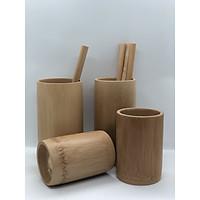 Set 4 cốc tre và 4 ống hút tre chất liệu tự nhiên - Hàng thủ công mỹ nghệ cao cấp đạt chuẩn xuất khẩu - BE185