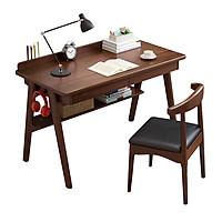 Bộ bàn ghế gỗ tự nhiên - Bộ bàn ghế làm việc  - Bàn làm việc có ngăn kéo - Bàn làm việc gỗ tự nhiên có kèm ghế kích thước 120cm - Giao màu ngẫu nhiên(vàng/nâu)