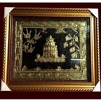 Tranh tháp rùa Hồ Gươm 25 x 35 cm bằng đồng.
