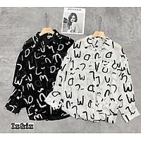 Áo sơ mi nữ dài tay in chữ 2 màu vải đũi lụa