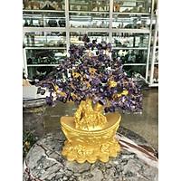 Cây Tài Lộc phong thủy đá thạch anh tím với đế hình thỏi vàng để bàn làm việc, bàn thờ thần tài - Cao 30 cm