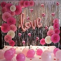 Set bóng cưới Happy Wedding hình rẻ quạt (có kèm bơm bóng +băng dính đốt)